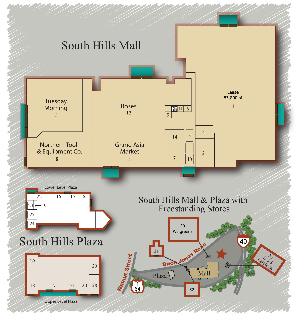Plantation Square Store Location Map